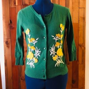 Anthropologie Emerald Embroidered Cardigan, S